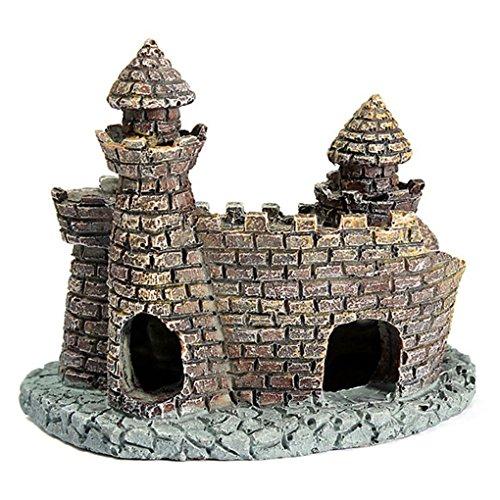 QHGstore Fish Tank decorazione della ceramica Grotte Nascondere Castello Acquario Ornamento