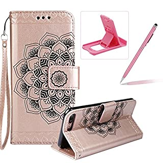 Rope Leather Case for iPhone 7 Plus,Strap Wallet Case for iPhone 8 Plus,Herzzer Bookstyle Classic Elegant Mandala Flower Pattern Stand Magnetic Smart Leather Case with Soft Inner for iPhone 7 Plus/iPhone 8 Plus 5.5 inch + 1 x Free Pink Cellphone Kickstand + 1 x Free Pink Stylus Pen - Rose Gold