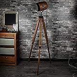 Shanque Massivholzstativ Herbst Stoff Stehlampe Nordic Retro Log Wohnzimmer Schlafzimmer Studie Lampe (Color : Brown, Size : 40)