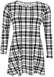 Nauvelle Womens Plus Size Dog Tooth Check Print Flared Swing Dress Top from Nauvelle