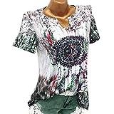 TUDUZ Damen Schöne Große Größen Windglocke Drucke V-Ausschnitt Kurzarm Bluse Pullover Tops Shirt (XL,Grün)