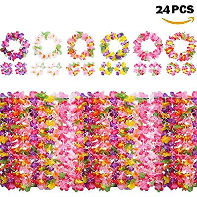 Artificial Poppy Flowers Hawaiian Garlands Leis Luau Flowers With 12 Bracelets 6 Headbands And 6 Necklaces For Hawaii Tea Party Decorations Supplies Photo Booth Props DIY Latex Flowers (24PCS)