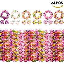 Yojoloin 24 Piezas Hawaianas Leis Luau Flores con 12 Pulseras 6 Diademas y 6 Collares para