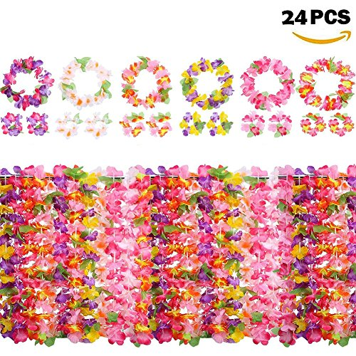 Yojoloin 24 Piezas Hawaianas Leis Luau Flores con 12 Pulseras 6 Diademas y 6 Collares para Luau Hawaiian Party Decoraciones Suministros Photo Booth Props.