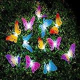 Berocia Schmetterling LED Lichterkette Solar Außen Bunt mit Batterie 12 LED Wasserdichtes im Freien Innen für Schlafzimmer-Haus-Garten-Weihnachten Feiertags-Dekoration (Schmetterling)