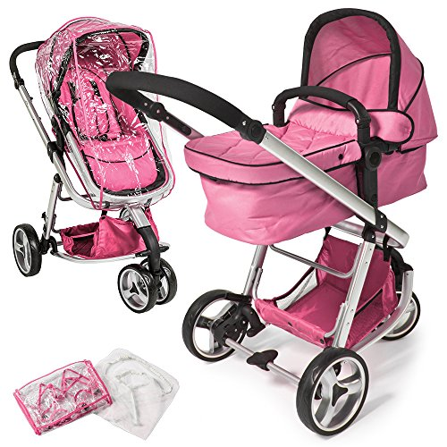 tectake 800043 Passeggino, Carrozzina, Baby Jogger 3 in 1, in diversi Colori (Rosa Fucsia | No. 400831)