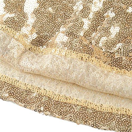 EALSN Frauen Pailletten Abend Party Kleider Sleeveless V-Ausschnitt Cocktail Lange Kleider,Gold-S - 5