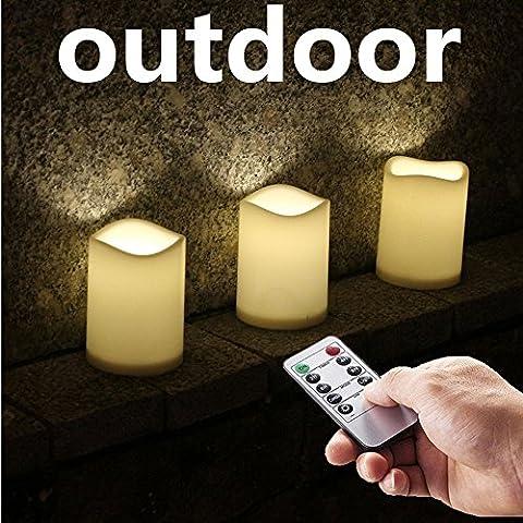 NONNO & ZGF 3 '' X 4 '' Kunststoff Wasserdichte Kerzen Geeignet für Outdoor (No Melt) mit Fernbedienung & Timer - Set von 3