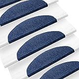 Matten für Treppenstufen Casa Pura® Linie Paris | für Innentreppen | rutschfest | Set mit 15 Stück| selbstklebend | verschiedene Farben 22x65cm blau