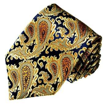 Lorenzo Cana Cravate en soie italienne 100% soie doré bleu jaune Paisley 12025