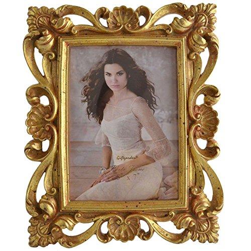 Giftgarden Marcos de la Resina de la Flor del Marco de la Foto de los 13x18cm, Oro