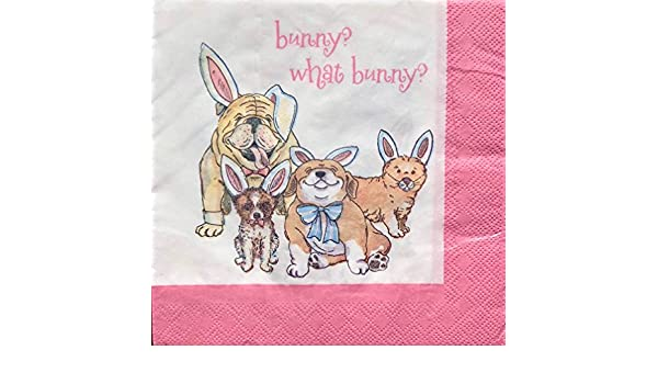 Party Dogs 20 ct CTS 2-ply What Bunny Paper Luncheon Napkins