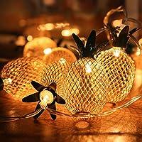Guirlande lumineuse 20 LED Ananas, Elfland® Lumières 2M Chaîne Eclairage avec Deux Modes, String Lights Décoration Romantique Pour la Toussaint/ Halloween Noël, Fêtes, Mariages