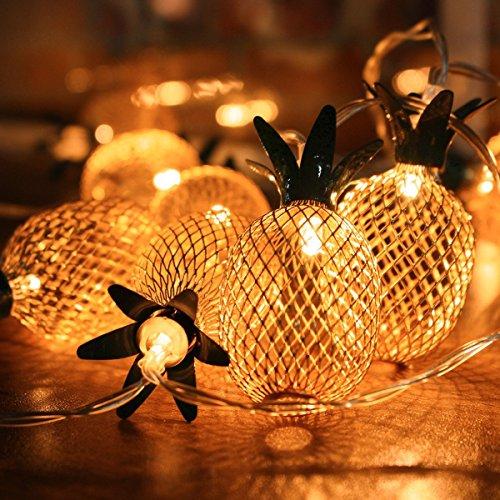 LED Lichterkette, Elfeland 20er 2,2m LED String Lights Ananas- Form Batteriebetrieben als Innen Beleuchtung für Party, Wohnungen, Weihnachten, Hochzeit, Beleuchtung Deko Warmweiß (Geschenk Für Besondere Bedürfnisse Kind)