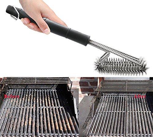 619iKUpTsvL - Profi Grillbürste mit extra langem Griff (45cm) - 3 Edelstahl Bürsten - Perfekt für deinen Grill