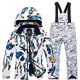 Zhangcaiyun Veste de Ski Enfant Veste imperméable épaissie pour Hommes/Femmes pour Enfants, vêtements de Ski Fille (Couleur : White and Blue Shirt+White, Taille : XL)