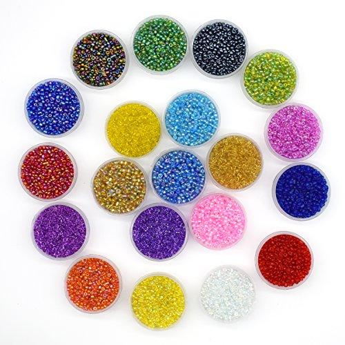 YUEKUI - Perline rotonde in vetro multicolore da 0,6 mm di diametro, circa 16.000 pezzi da 2mm in 20 colori, per realizzare fili di perline lunghi 10 m