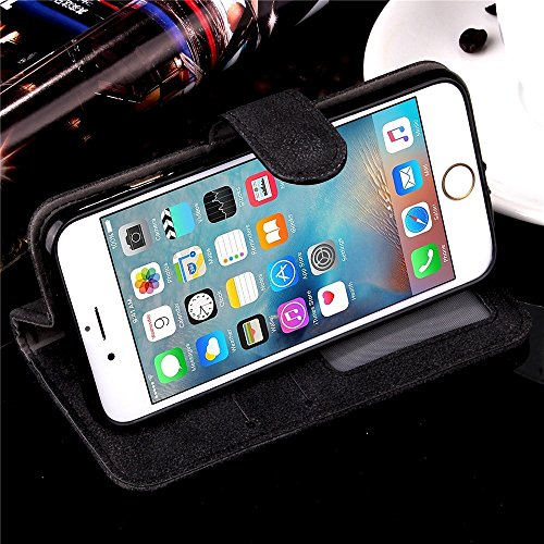 JIALUN-Telefon Fall Geprägte Blumen Retro Folio Premium PU Ledertasche Magnetische Verschluss Brieftasche Stand Style Handschlaufe Case Cover für iPhone 6s Plus ( Color : Rose , Size : IPhone 6s Plus  Black