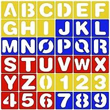 26pcs Letras Del Alfabeto Stencil + 10pcs NúMero Plantillas PláSticas Conjunto De Plantillas Para Pintura Aprendizaje