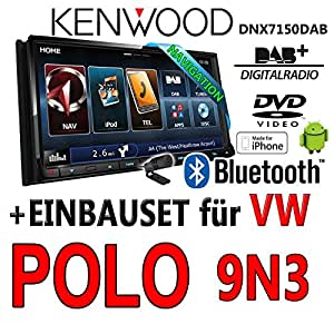Volkswagen polo 9N3 kenwood dNX7150DAB 2–dIN navigationsradio mHL autoradio dAB uSB avec kit de montage
