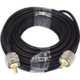 YILIANDUO UHF Cable UHF PL-259 Macho a UHF PL259 Macho Coaxial Cable RG58 15M Baja pérdida de WiFi Coaxial para radioaficiona