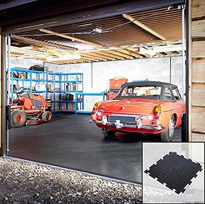Interlocking Vinyl Floor Tiles Flooring Checkerplate Or Studded Surface 495 x 495mm Heavy Duty Gym Garage Schools Workshop - low-cost UK flooring store.