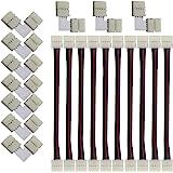 CESFONJER 10 PCS connecteurs de bande LED 5050 RGB en forme 10 mm, 10 PCS L Raccord d'angle de Raccord Rapide LED, Ce kit est