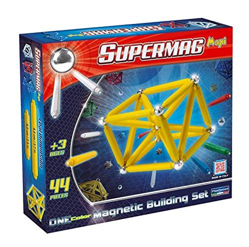 Plastwood - Supermag Maxi Eine Farbe, Aufbau des Magnetspiels, 44 Stück, Verschiedene Farben