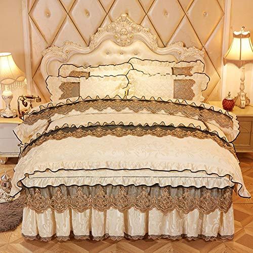 CA&YAN 100% Samt Flanell Bettbezug Set, 4stück Weich Warme Bettwäsche Cover Set, 1 Bettbezug + 1 Gesteppte Bett Blatt Rock + 2 Kissenbezüge-beige Voll -