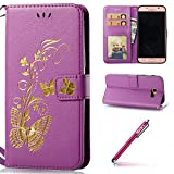 PU Cuir Coque pour Galaxy A7(2017),Galaxy A7(2017) Case Papillon Motif,Hpory élégant Vintage Bronzing Papillon Motif With Lanyard Strap PU Cuir Case BookStyle Folio Support PU Leather Wallet Case with Magnetic Closure and Stand Function and Credit Card Holder Multifonction de Shell en Soft Silicone Bumber Protector Étui Anti Poussière Anti-rayures et Shockproof Couverture Etui Coquille pour Samsung Galaxy A7(2017) + 1 x Hpory Stylus-(Violet)