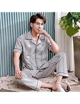 Mangeoo Pijamas de Manga Corta de Verano de los Hombres, Pantalones, Trajes de algodón, algodón Top Men's Household...