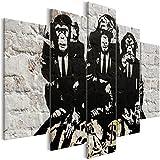 murando Cuadro Banksy Mono 200x100 cm - 5 partes - Impresion en calidad fotografica - Cuadro en lienzo tejido-no tejido - Monkey Moderno i-C-0125-b-m