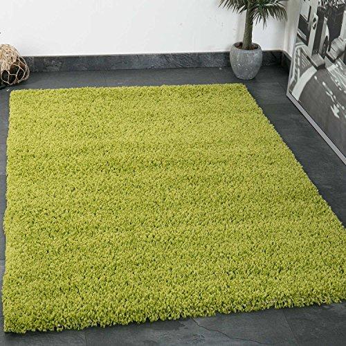 Prime Shaggy Teppich Grün Hochflor Langflor Teppiche Modern für Wohnzimmer Schlafzimmer Einfarbig - VIMODA, Maße:Ø 120 cm Rund