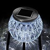 Auraglow Decorative Glass Solar Light Table Centrepiece LED Garden Alfresco Outdoor Dining Lamp - Cool White