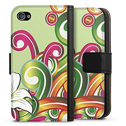 Apple iPhone X Silikon Hülle Case Schutzhülle Blume Blumenmuster Floral Sideflip Tasche schwarz