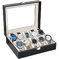ORPIO (LABEL) PU Leather 10 Slots Wrist Watch Display Box Storage Holder Organizer Watch Case Jewelry Dispay Watch Box…