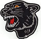 Aufnäher Aufbügler Iron on Patches Applikation Panther Kopf schwarz XXL Back...