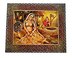 Indian Wooden Traditional Hand Made Hand Painted Poster Wall Handing Painting Size:- (Inche)26x20