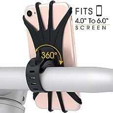 VUP Unisex Adult Montage Am Lenker Vorbau, Handyhalter, Rennrad Mountainbike Motorrad 360-Grad Gedreht Werden,Verstellbarer Handyhalterung Fahrrad für Iphone X/8/7/6/6s Galaxy S8 Plus/S7 Edge, Note 8 5,Google Pixel & Allen Handy mit 4,0-6,0 Zoll Bildschirm, Schwarz, 60 mm (B) x 130 mm (L) x 47 mm