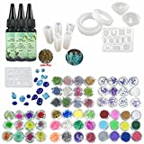 UV Epoxy Harz Schmuck Kit Cristal ungiftig, 3 Epoxy + 11 Formen 31 Formen + 100 Ringe + 12 getrocknete Blumen + 12 Korallenblüten + 12 Glassines + 12 Holographic Paper + 12 Glitters Pigmentpulver