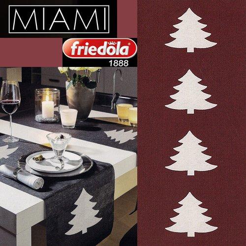 Tischläufer MIAMI 40 x 160 cm Weihnachtsbaum rot / weiß