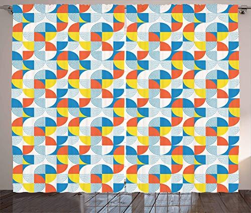 ABAKUHAUS Geometrisch Rustikaler Gardine, Bauhaus-Rundform, Schlafzimmer Kräuselband Vorhang mit Schlaufen und Haken, 280 x 260 cm, Mehrfarbig