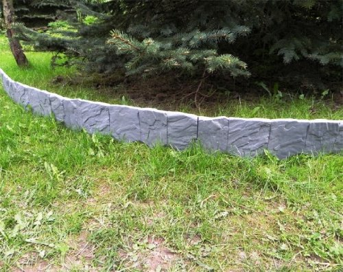 Zaun Mauer Palisade Rasenkante Beeteinfassung Stein 2,28 m x 13 cm grau 1,5 cm stark