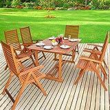 Deuba Sitzgruppe 6+1 aus massivem Eukalyptus Holz, 1 Tisch + 6 Klappstühle mit Armlehnen - Sitzgarnitur Gartentisch Esstisch Gartenmöbel Set