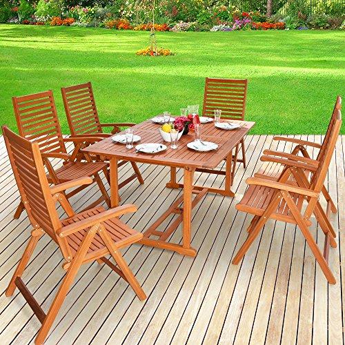 Deuba Sitzgruppe 6+1 aus Massivem Eukalyptus Holz, 1 Tisch + 6 Klappstühle mit Armlehnen -...