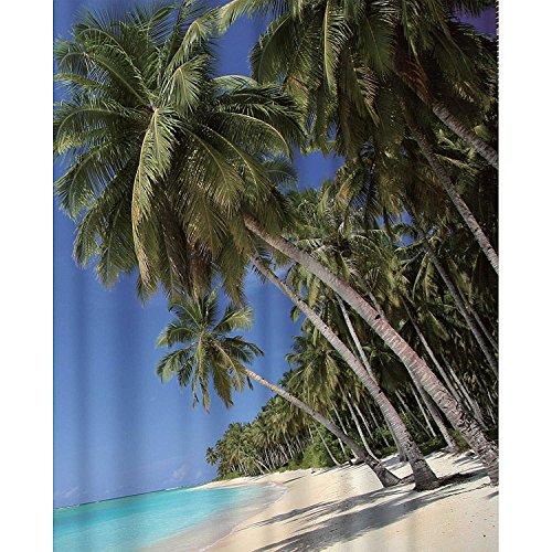 Hochwertiger Textil Dusch-Vorhang 180x200 cm oder 180x180 cm breit für Dusche und Badewanne Wasserdicht. Verschiedene Motive Strand Urlaub Karibik (Palmen (180x200cm)) (Stein Dusche Regal Ecke)