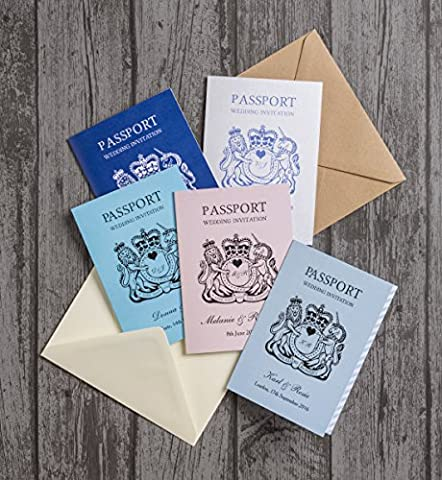 Personalised Passport Themed Destination Wedding Invitations with Envelopes (Pack of 20)