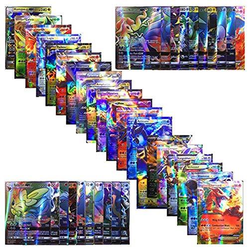 Carte Pokemon Jeux de Cartes 100 Cartes Pokemon PCS Style Carte Holo EX Full Art 80 Cartes EX 20 Cartes GX Puzzle Jeu de Cartes Amusant