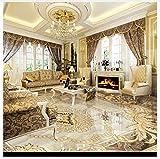 3D Hintergrundbild Wallpaper Boden Pvc Wandbild Wasserdichte Boden-Tapete Kundenspezifisches Foto-Boden-Wandbild-Tapete 3D Klassisches Europäisches Hotel-Badezimmer Pvc-Wohnzimmer 400X280Cm,Ayzr