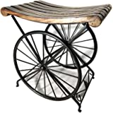 AG HANDICRAFTS Wooden Iron Stool for Sitting Attractive and Unique Design Metal Base Medium Size for LIVIVNG Room